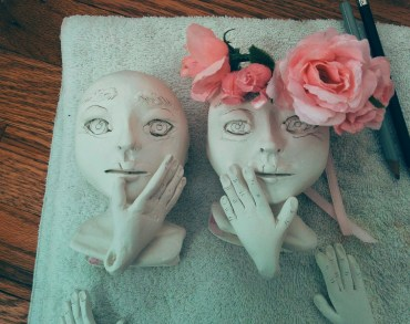 paperclay doll heads and hands with drawn features