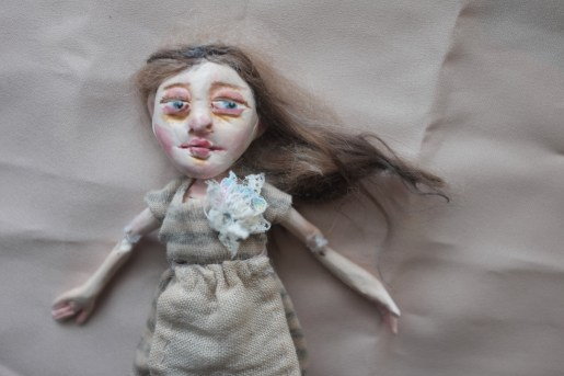 jointed miniature paperclay art doll