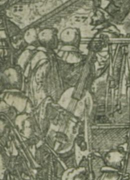 Detail of large viol performing at a state funeral.