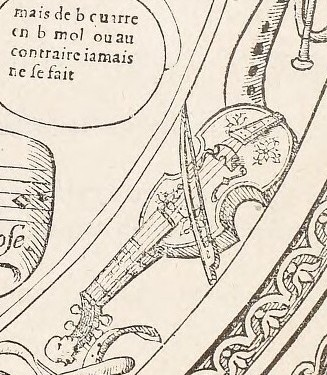 Detail of viols depicted in Savigny's Tableaux. Accomplis de Tous les Arts Liberaux.