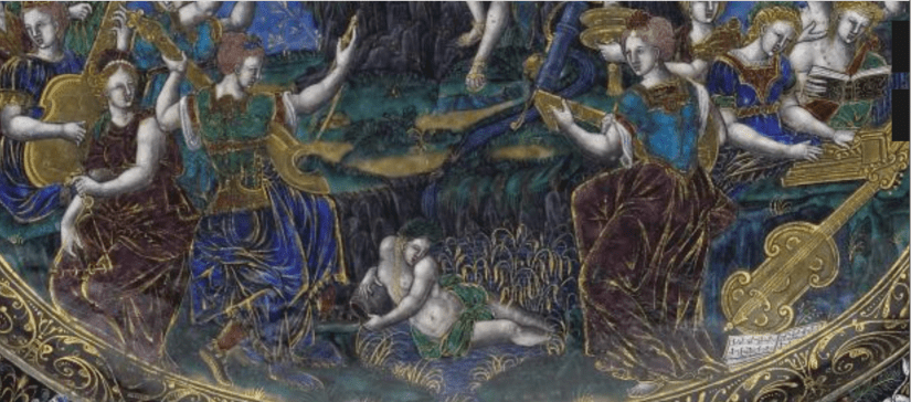Detail of Martial Reymond, Oval Dish: Apollo and the Muses; Fame