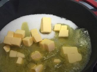 making the caramel sauce