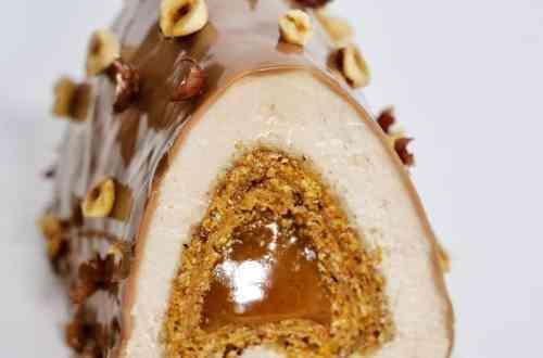 coupe bûche noisette caramel