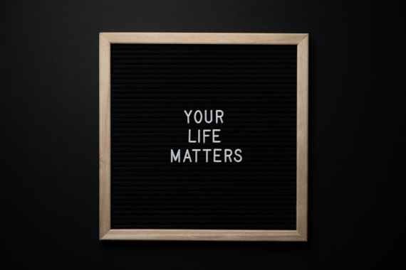 blackboard with your life matters inscription on black background