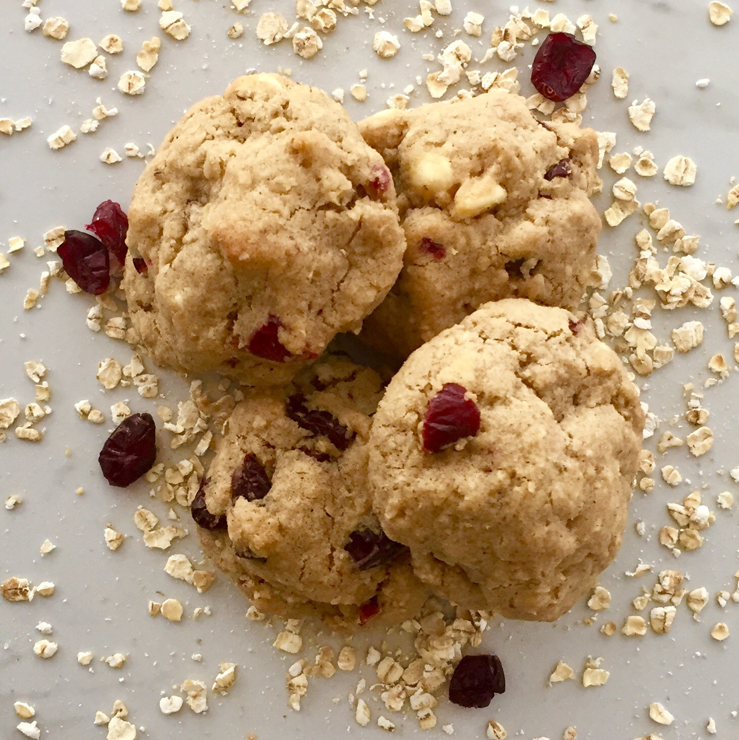 White Chocolate, Cranberry and Oatmeal Cookies