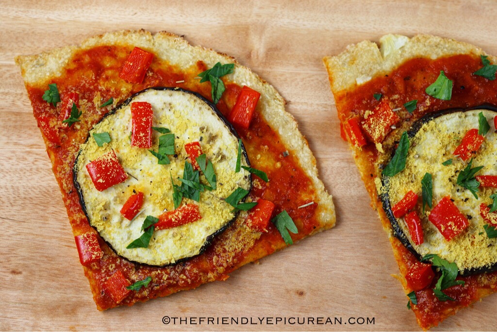 Roasted Eggplant and Red Pepper Pizza with Cauliflower Crust (vegan, gluten free)