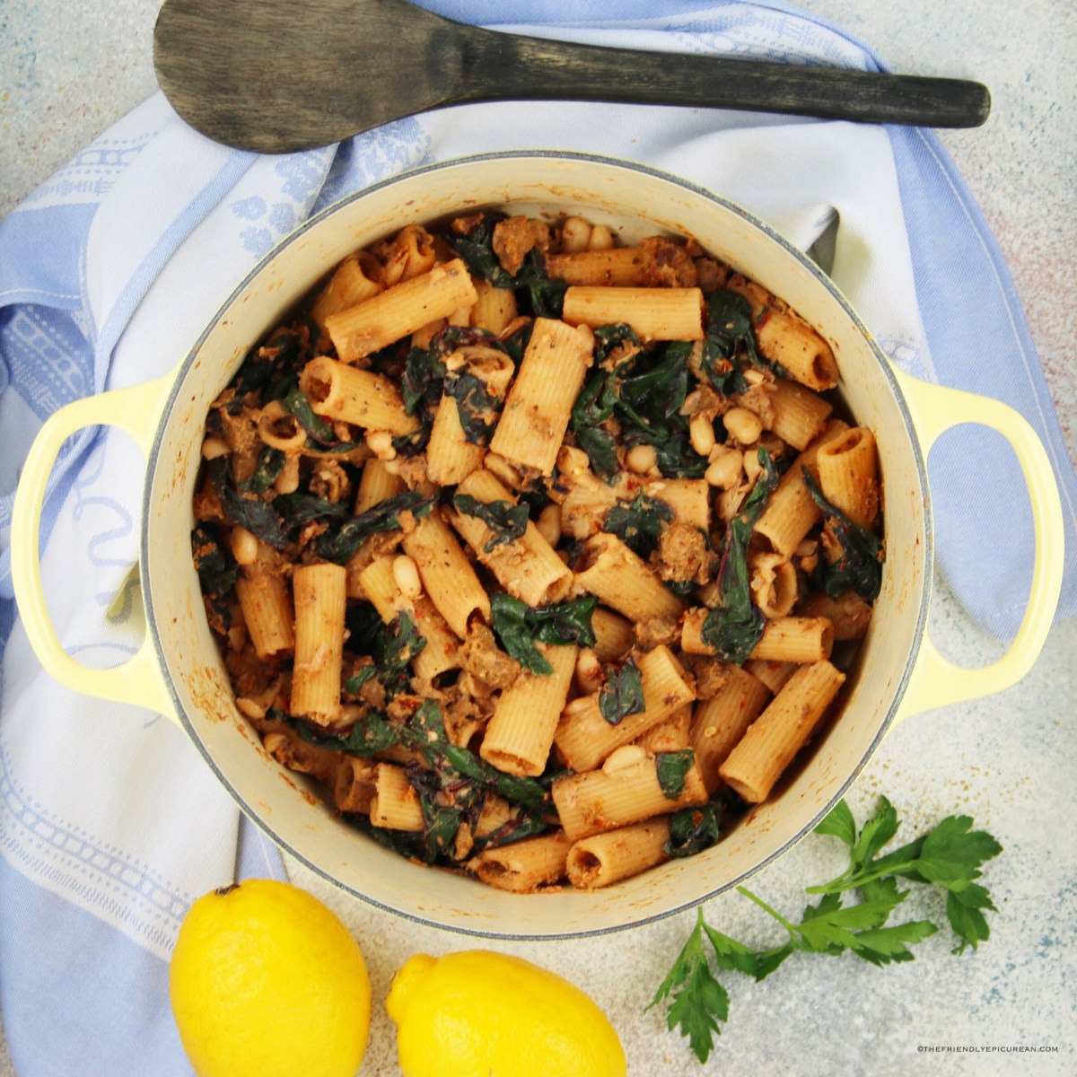 Rigatoni with Vegan Sausage, White Beans, and Swiss Chard