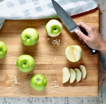 Peel, core, and slice apples