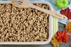 Spread crumble over apples