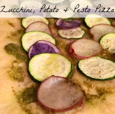 Zucchini Potato Pesto Pizza Vegan Recipe