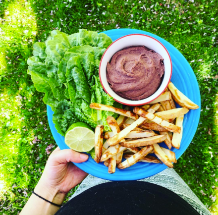 Oil-Free Fries + Black Bean Dip Platter
