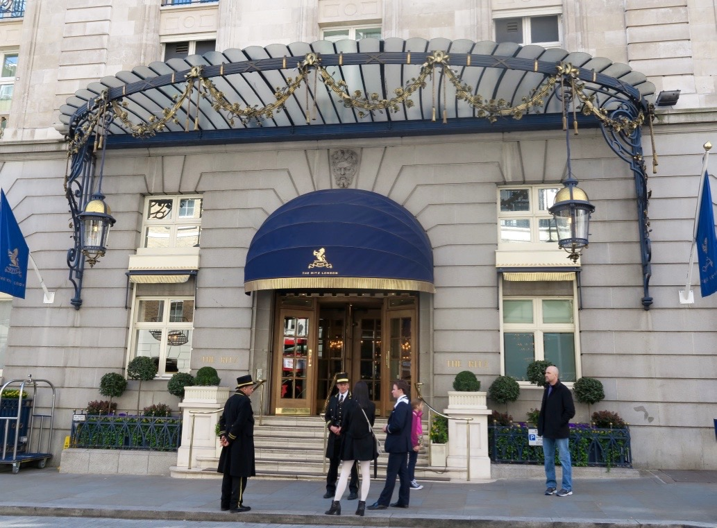 afternoon tea at the Ritz exterior of the hotel