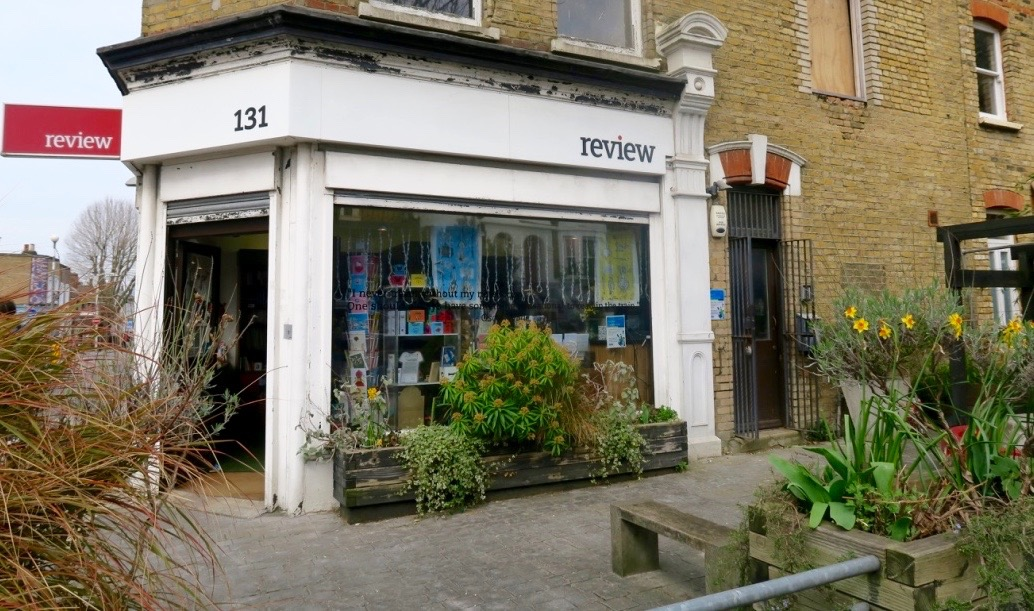 Exterior of Review Bookshop in London