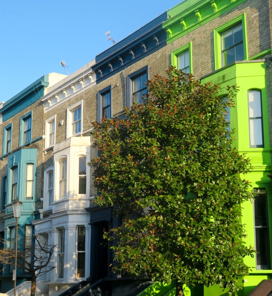 green and blue houses in Notting Hill