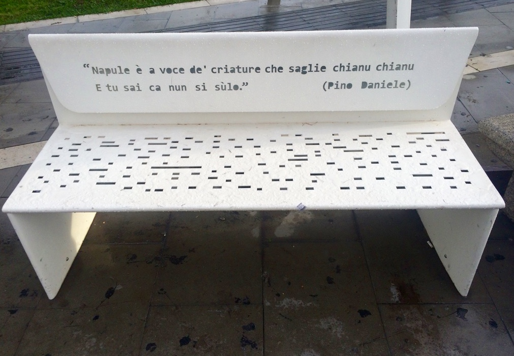 Naples bench with Pino Daniele song