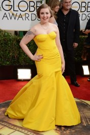 Lena Dunham in Zac Posen dress