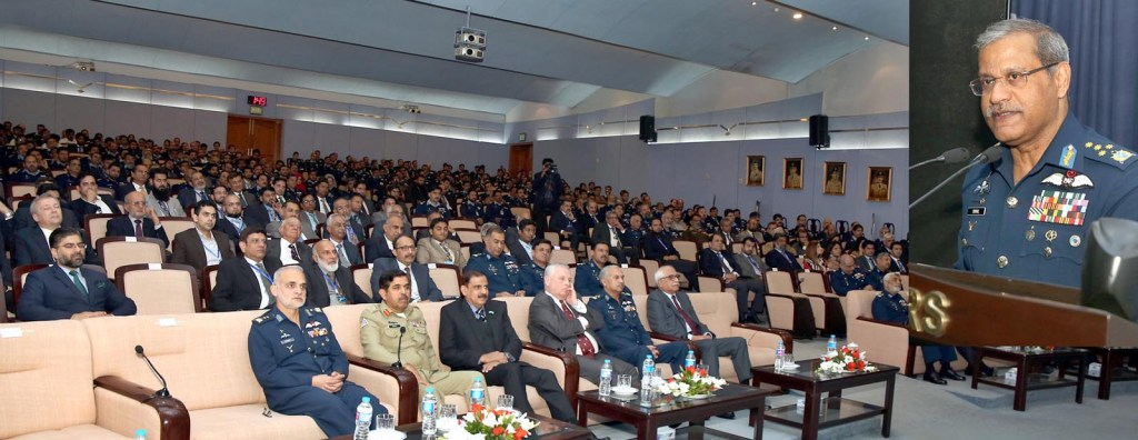 """ISLAMABAD: Air Chief Marshal Sohail Aman, Chief of the Air Staff, Pakistan Air Force addressing a seminar on the topic of """"Aviation Industry: Future Perspective and Application of Technology"""" at Nur Khan Auditorium, Air Headquarters. INP PHOTO"""