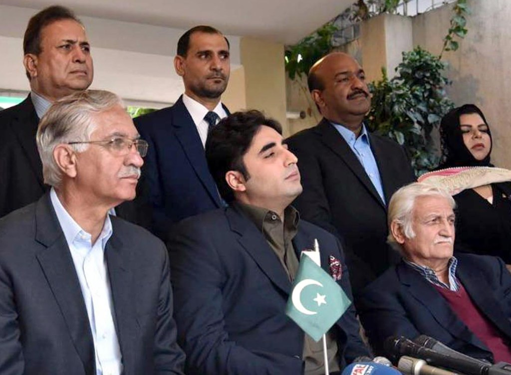 ISLAMABAD: PPP Chairman Bilawal Bhutto Zardari's Press Conference at Zardari House. INP PHOTO
