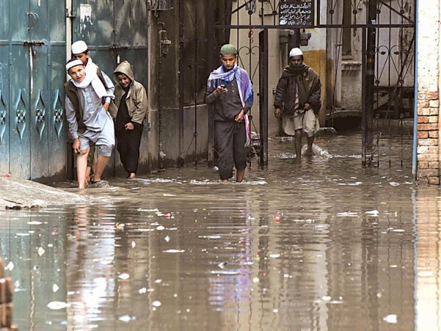 Stagnant rainwater impedes routine life in city