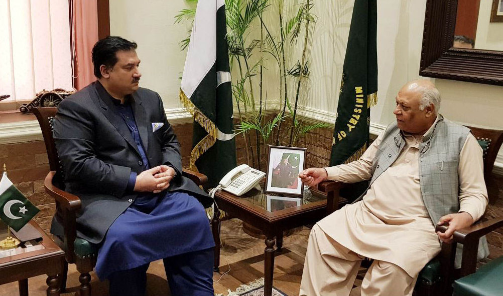 Federal Minister for Maritime Affairs Mir Hasil Khan Bizenjo calls on Federal Minister for Defence Engr. Khurram Dastgir Khan, at Ministry of Defence, Rawalpindi on May 11, 2018.