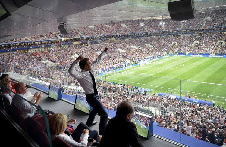 French President Emmanuel Macron reacts during the Russia 2018 World Cup final football match between France and Croatia at the Luzhniki Stadium in Moscow on July 15, 2018. / AFP PHOTO / SPUTNIK / Alexey NIKOLSKY / RESTRICTED TO EDITORIAL USE - NO MOBILE PUSH ALERTS/DOWNLOADS