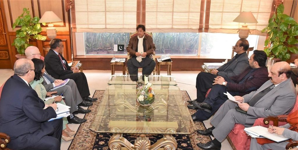 Director General WHO Dr. Tedros Adhanom Ghebreyesus calls on Prime Minister Imran Khan at PM Office Islamabad on January 8, 2019. President of the Bill and Melinda Gates Foundation's Global Development Division Dr. Christopher Elias is also present.
