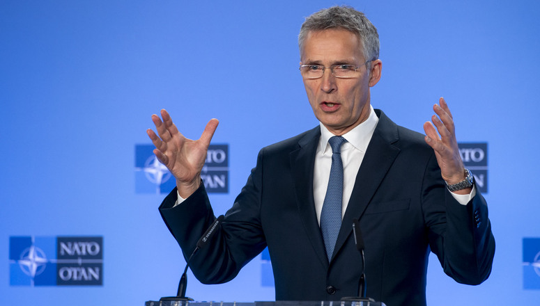 NATO Secretary General Jens Stoltenberg holds a press point to brief the media in his capacity as Chairman of the NATO-Russia Council.