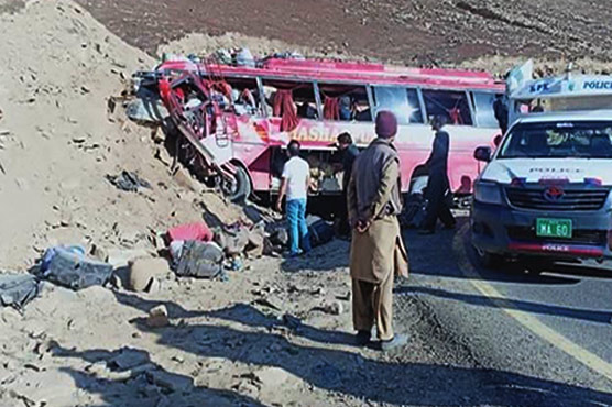 Image result for 26 killed as passenger bus rams into mountain in Pakistan