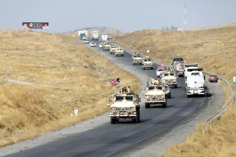 ERBIL, IRAQ - OCTOBER 21: A military convoy of US forces makes its way through Erbil, Iraq on October 21, 2019. The U.S. has started withdrawal from military bases in the northeastern Syrian province of Al-Hasakah to northern Iraq. ( Yunus Keleş - Anadolu Agency )