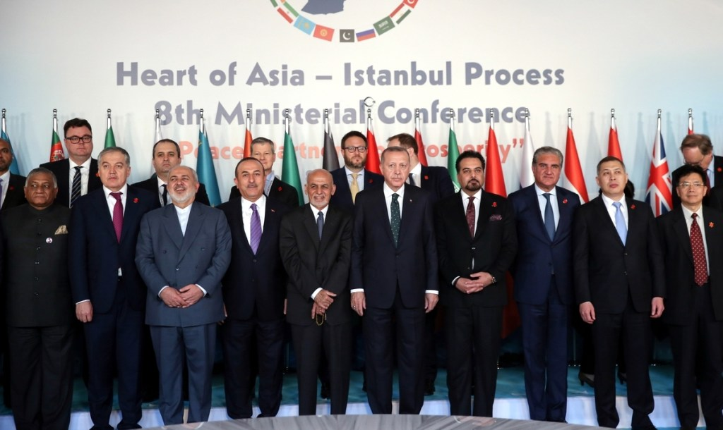 ISTANBUL, TURKEY - DECEMBER 9: President of Turkey Recep Tayyip Erdogan (5th R) poses for a photo with participants during 8th Ministerial Conference of Heart of Asia - Istanbul Process to convene under theme of Peace, Partnership, Prosperity in Istanbul, Turkey on December 9, 2019.  ( Emrah Yorulmaz - Anadolu Agency )