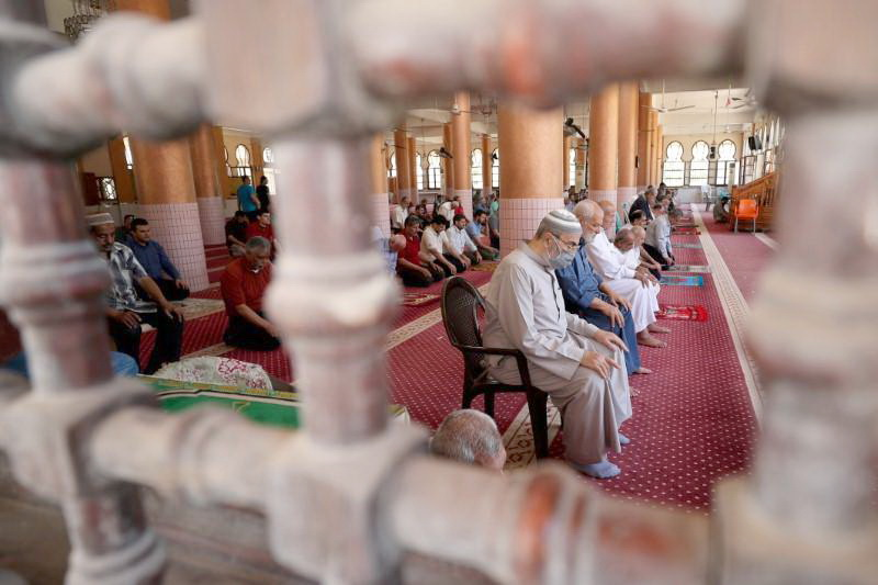 GAZA Worshippers perform the prayers in AL-Abbas mosque as it reopens after Palestinians ease the coronavirus disease restrictions, in Gaza City.