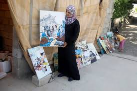 Palestinian artist's canvases reflect Palestinians' fear over Israeli annexation