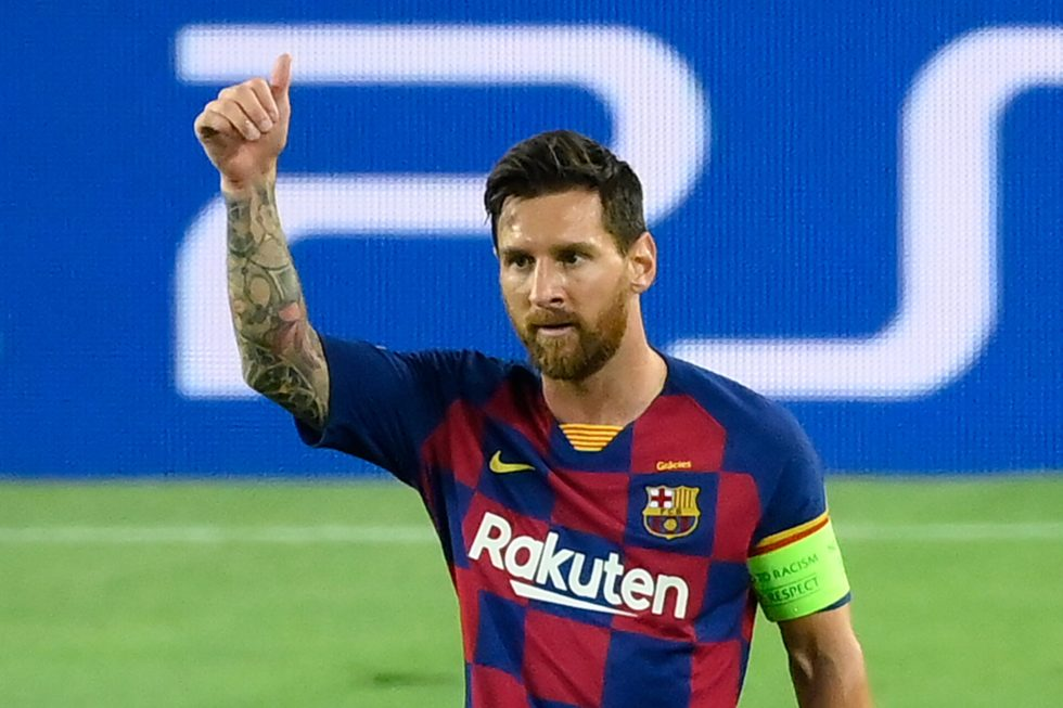 Barcelona's Argentine forward Lionel Messi celebrates after scoring a goal during the UEFA Champions League round of 16 second leg football match between FC Barcelona and Napoli at the Camp Nou stadium in Barcelona on August 8, 2020. (Photo by LLUIS GENE / AFP)