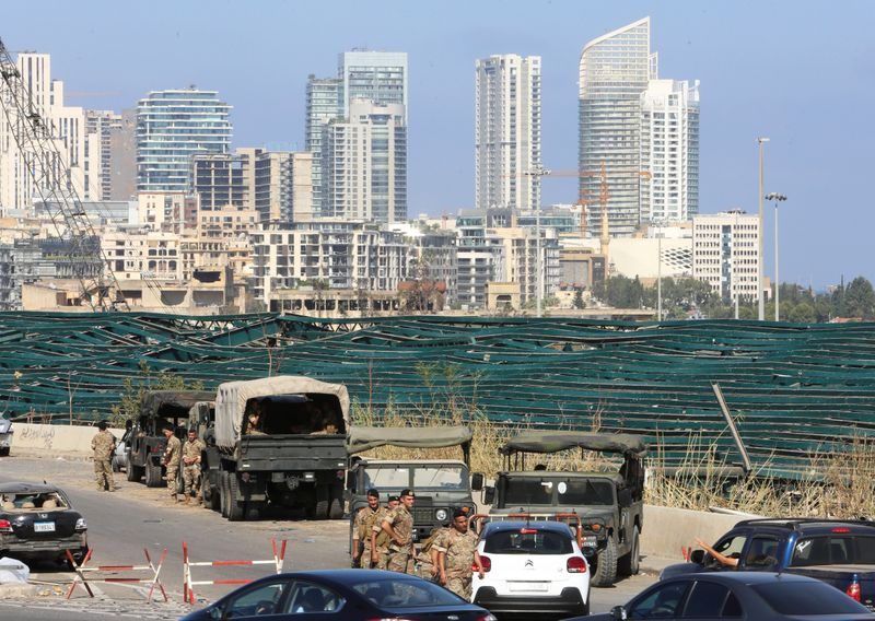 Lebanese soldiers are seen near the site of Tuesday's blast in Beirut's port area, Lebanon August 7, 2020. REUTERS/Aziz Taher