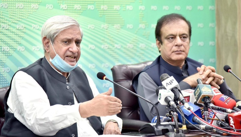 Syed Fakhar Imam, Federal Minister for National Food Security & Research and Senator Shibli Faraz, Federal Minister for Information and Broadcasting addressing a press conference in Islamabad on August 3,2020.