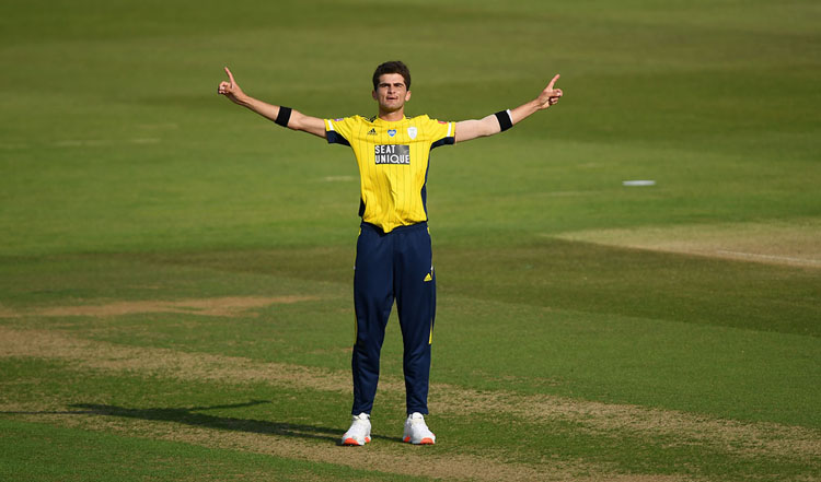 SOUTHAMPTON, ENGLAND - SEPTEMBER 20: Shaheen Afridi of Hampshire celebrates bowling Tim Murtagh of Middlesex to give him 4 wickets in 4 balls and Hampshire victory in the Vitality Blast match between Hampshire and Middlesex at The Ageas Bowl on September 20, 2020 in Southampton, England. (Photo by Alex Davidson/Getty Images)