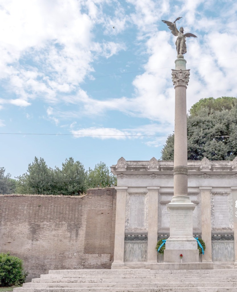ROME, ITALY - SEPTEMBER 20: The Monument to the Capture of Rome that remembers the fallen killed during the fighting for Porta Pia during the celebration of the 150th anniversary of the breach of Porta Pia on September 20, 2020 in Rome, Italy. The breach of Porta Pia on September 20, 1870, by forces under the command of King Victor Emmanuel II, marked the defeat of the Papal States and the unification of Italy. (Photo by Stefano Montesi - Corbis/Getty Images)