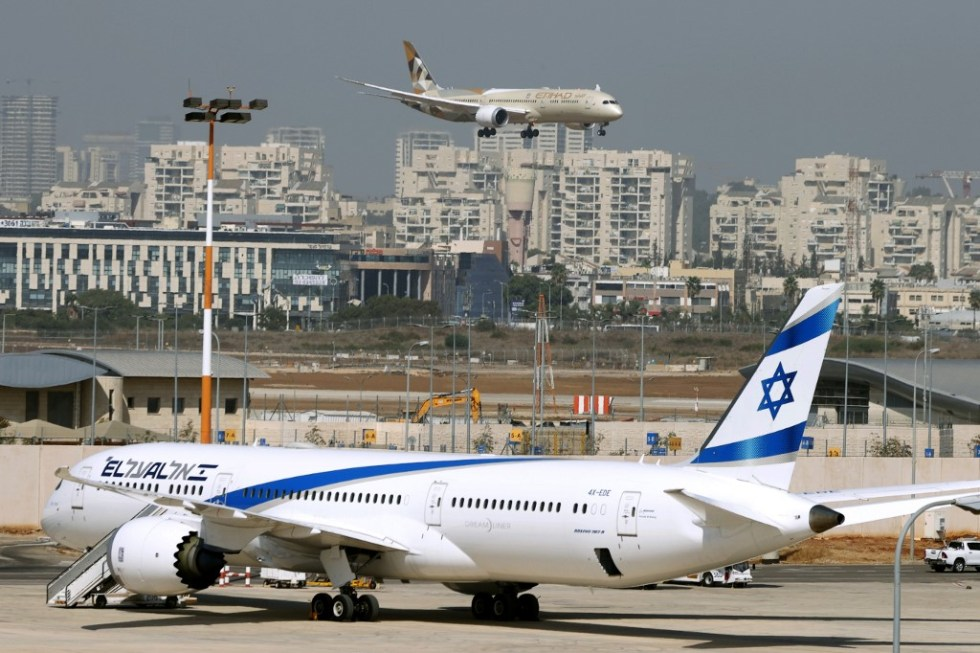 An Etihad Airways plane carrying a delegation from the United Arab Emirates (UAE) on a first official visit, lands at at Israel's Ben Gurion Airport near Tel Aviv, on October 20, 2020. - The UAE delegation left on the country's first official visit to Israel with a string of deals set to be signed after the two countries signed a deal to normalise ties last month. (Photo by JACK GUEZ / AFP)