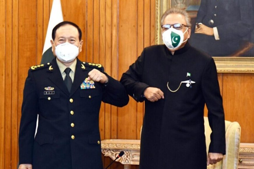 PRESIDENT DR ARIF ALVI WELCOMING MINISTER OF NATIONAL DEFENSE OF CHINA, GENERAL WEI FENGHE, AT AIWAN-E-SADR, ON DECEMBER 01, 2020.