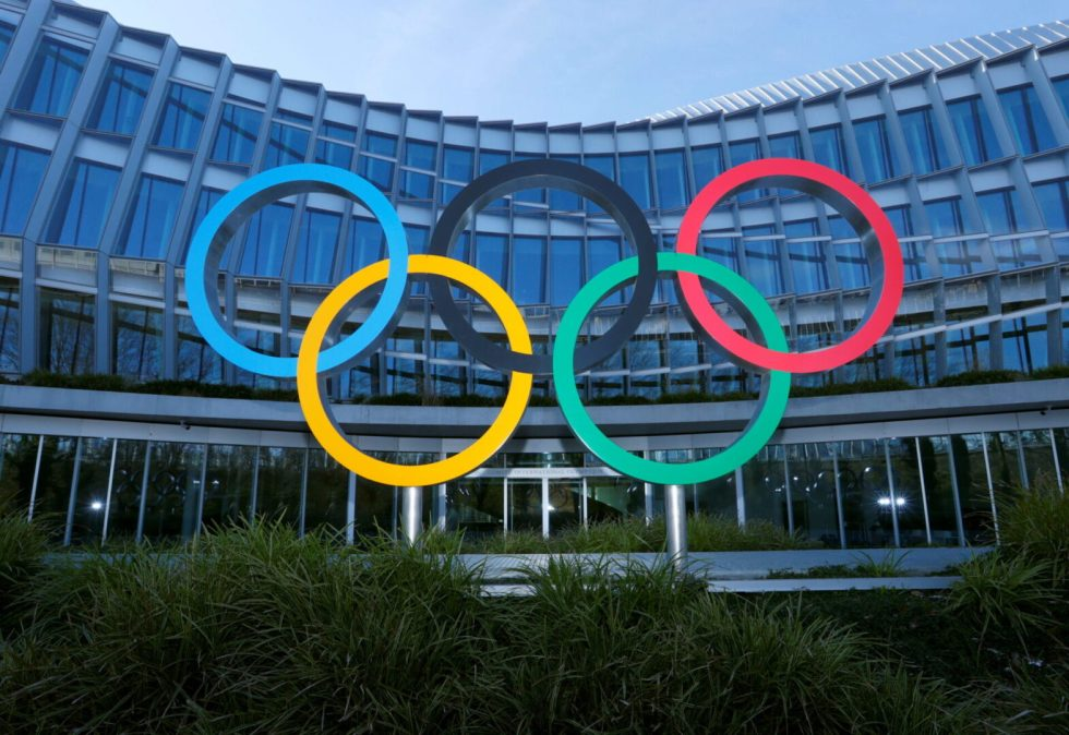 The Olympic rings are pictured in front of the International Olympic Committee (IOC) headquarters during the coronavirus disease (COVID-19) outbreak in Lausanne, Switzerland, January 26, 2021. REUTERS/Denis Balibouse