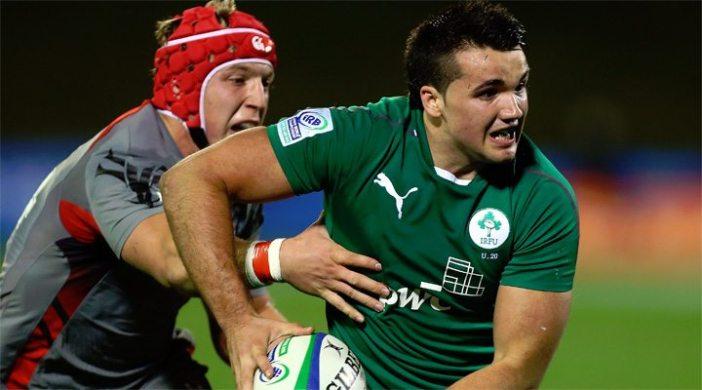 Ireland's bonus point try scorer Cian Kelleher in action against Wales.