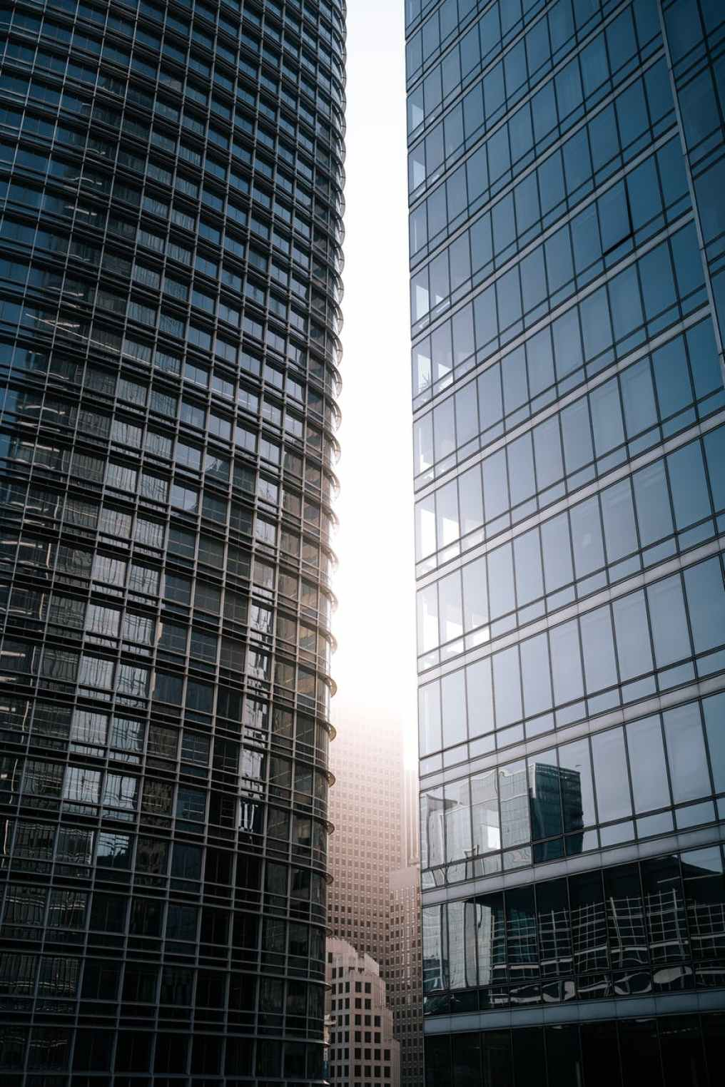 two high rise glass buildings