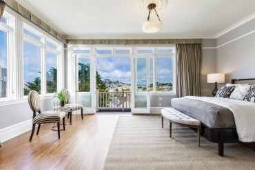1793 Sanchez Master Suite with incredible San Francisco skyline views, private deck, and fireplace.