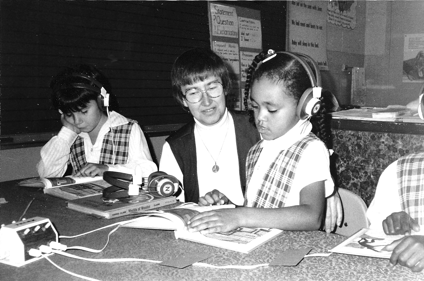 Rev. Joan Wagner with students in the 1980s