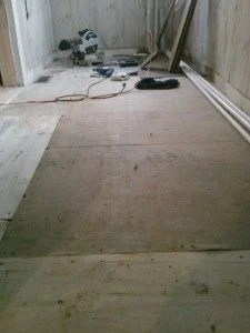 The sub-flooring in our mud room.