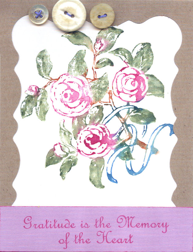 stamped with watercolor crayons on card stock