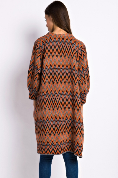 casual-chevron-knitted-open-front-cardigan