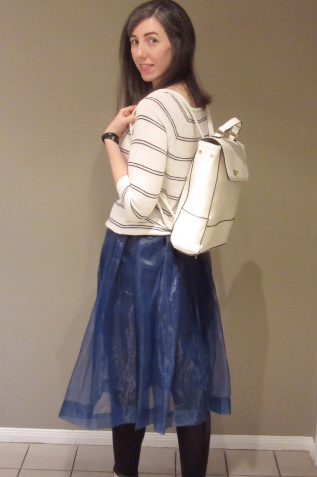 tulle skirt, navy and white, blue and white, backpack purse, stripes, booties, Nine West, Dynamite, RW & Co, Chic Wish