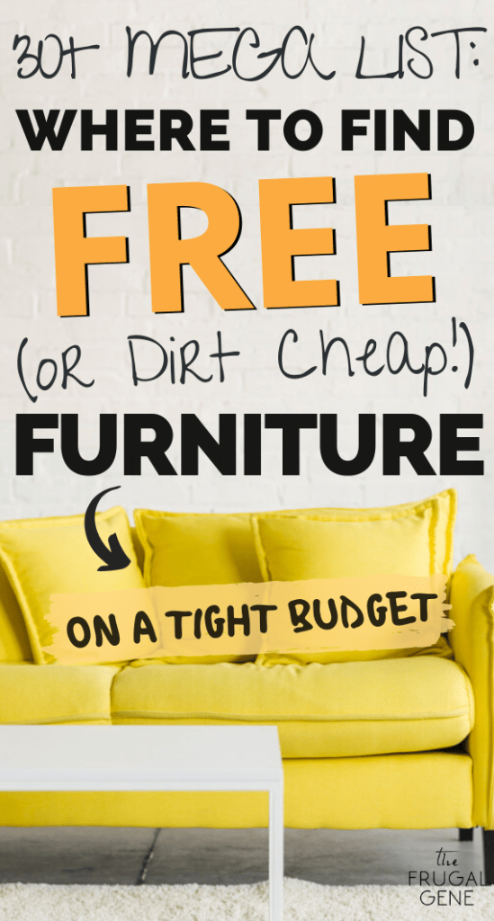 Must decorate on a budget? Start saving money on a tight budget: find free (or dirt cheap) furniture to decor your house or apartment with this guide. Mega list of legit websites to get furniture freebies in US, UK, Canada etc. | Dirt cheap decor store, thrift store finds, diy, furniture deals, budgeting #budget, shopping, moving tricks, tips, repurpose furnitures, used furniture for sale, secondhand, how to buy, minimalism, how to find frugal furniture in your neighborhood, community #savemoney