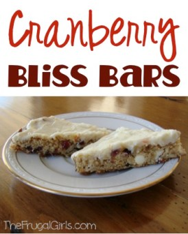 Cranberry Bliss Bars Recipe at TheFrugalGirls.com